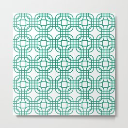 Emerald Geometric Lattice Pattern Metal Print
