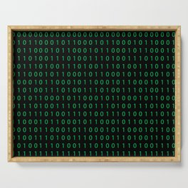 Pattern with binary code on dark background Serving Tray