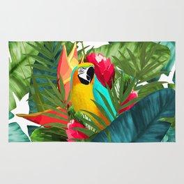 Fresh Parrot Tropical Banana Leaves Bouquet Rug