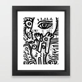 Creatures Graffiti Black and White on French Train Ticket Framed Art Print