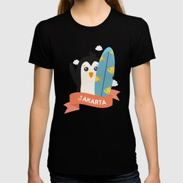 Penguin Surfer from Jakarta T-Shirt for all Ages T-shirt