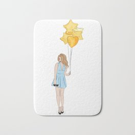 Girl with balloons Bath Mat