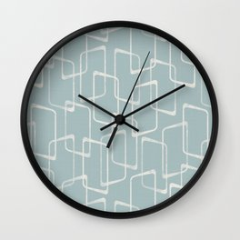Mid Century Dusty Blue-Gray Geometric Pattern Wall Clock