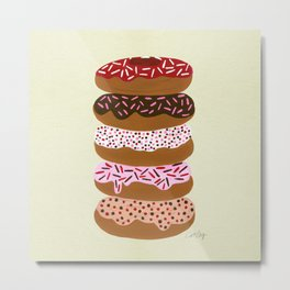 Stacked Donuts on Cream Metal Print