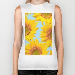 Yellow Mellow Sunflowers Blue Sky Background #decor #society6 #buyart Biker Tank