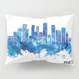 Beirut Lebanon Skyline Blue Pillow Sham