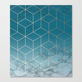 Gold Geometric Cubes Teal Marble Deco Design Canvas Print