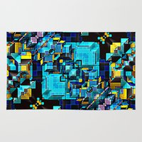 technology Area & Throw Rugs featuring Blue Technology Abstract by Phil Perkins