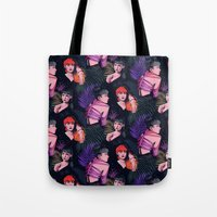 grimes Tote Bags featuring Grimes repeat by Helen Green