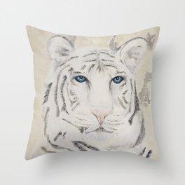 Original Art - White Tiger Original Painting (highly textured)  #white Throw Pillow