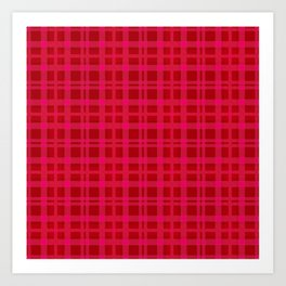 Tartan - Pink Rust Orange Art Print