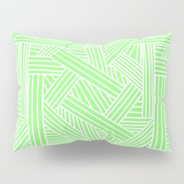 Sketchy Abstract (White & Light Green Pattern) Pillow Sham