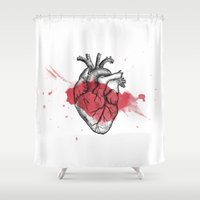 anatomical heart Shower Curtains featuring Anatomical heart - Art is Heart  by AdaLovesTheRain