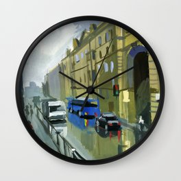 Cityscape, the street after the rain. Wall Clock