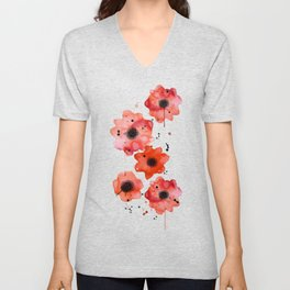 Watercolor poppies on gray background Unisex V-Neck