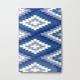 Kilim Rug Blue Metal Print