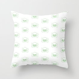 Mint Skull and Crossbones Pattern and Print Throw Pillow