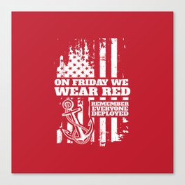 On Fridays We Wear Red Navy Family Canvas Print