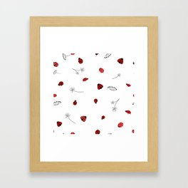 Lady Bug and Dandelion Pattern Framed Art Print