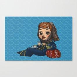 Khaleeji Hijabi with Tea Canvas Print