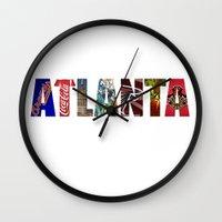 atlanta Wall Clocks featuring ATLANTA by Mental Activity