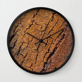 Orange tree bark with rustic wrinkles Wall Clock