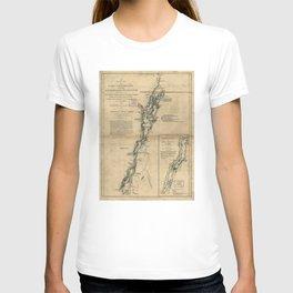 Vintage Map of Lake Champlain & Lake George (1776) T-shirt