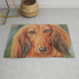 Teckel Dachshund Red Dog Cute Pet Portrait on green background Autumn colours Oil painting on canvas Rug