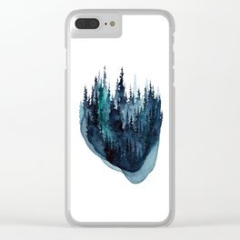 Turquoise Glow - Pine Forest Clear iPhone Case