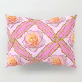 CREAMY  ROSES & RAMBLING THORNY CANES ON  PINK  DIAGONAL PATTERNS Pillow Sham