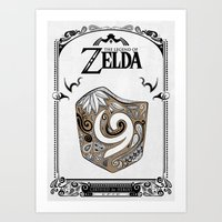 legend of zelda Art Prints featuring Zelda legend - Kokiri shield by Art & Be