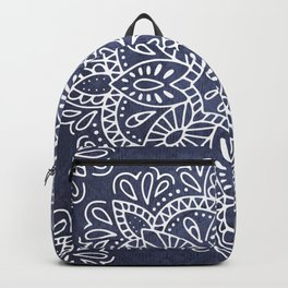Mandala Vintage White on Ocean Fog Gray Backpack
