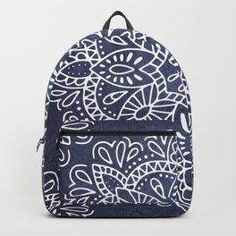 Mandala Vintage White on Ocean Fog Gray Backpack