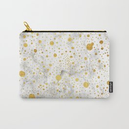 White marble with hand drawn dots in gold leaf Carry-All Pouch