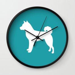 Shiba Inu (Aqua/White) Wall Clock