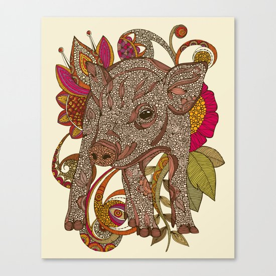 Paisley Piggy Canvas Print