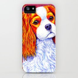 Colorful Cavalier King Charles Spaniel iPhone Case