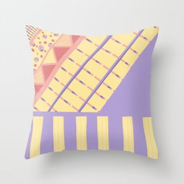 Lilac n Rose Geometry on Buttercream - from the Lilac Buttercup colour palette collection Throw Pillow