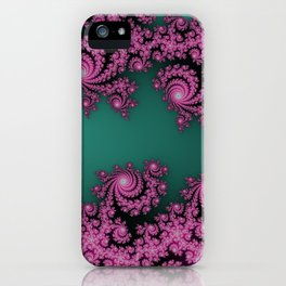 Fractal in Dark Pink and Green iPhone Case