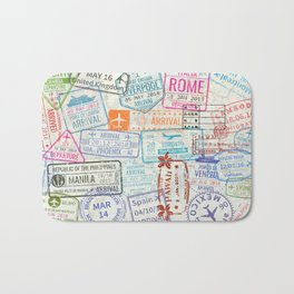 Vintage World Map with Passport Stamps Bath Mat
