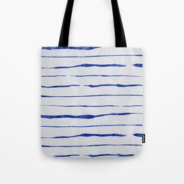 Blue Wiggly Stripes Pattern Tote Bag