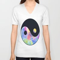ying yang V-neck T-shirts featuring Ying Yang by Johnny Rockets