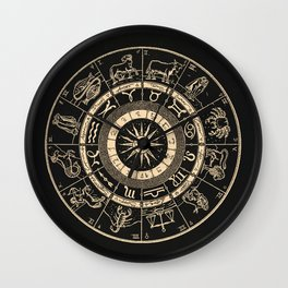 Vintage Zodiac & Astrology Chart   Charcoal & Gold Wall Clock