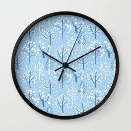 Winter forest doodles Wall Clock