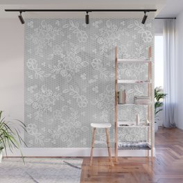 Beautiful Gray & White Floral Lace Pattern Wall Mural