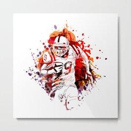 Color illustration of American football player Metal Print