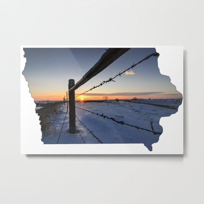 State of Iowa Shaped Snowy Winter Landscape Metal Print