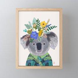Koala with flowers on head Framed Mini Art Print
