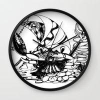 crab Wall Clocks featuring Crab by Cowbird