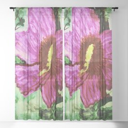 The Pink Hibiscus In Watercolor Sheer Curtain